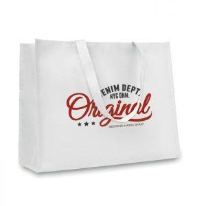 Horizontal paper woven shopping bag