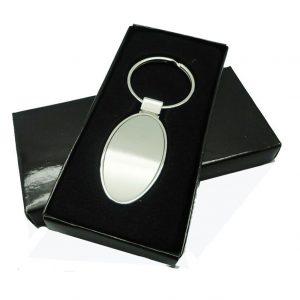 Metallic Oval Shaped Keychain