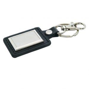 Rectangular Leather Metal Finish Keychain
