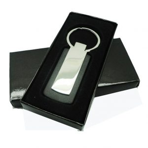 Rectangular Metal Leather Keychain